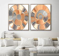 Orange Gray Abstract Wall Art Set of 2 Prints Terracotta   Etsy Contemporary Artwork, Art Set, Minimalist Poster, Grey Abstract Art, Geometric Wall Art, Abstract Wall Art, Artwork, Orange Wall Art, Prints