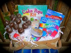 Cake pop themed basket for a silent