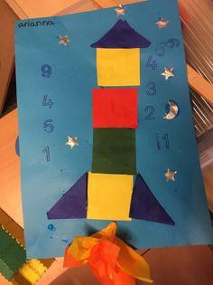 Raket van vierkantjes thema de ruimte knutselen groep 1 2 Night
