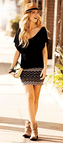 Boho chic #moderntwist - i could do this combo with my pink skirt and casual black top different shoes though
