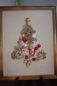 Vintage Jewelry Christmas Tree Cranberry and Cream by HoboSolos, $165.00