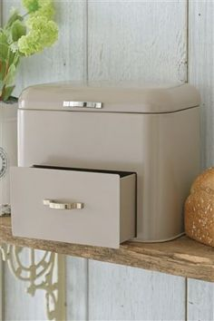 Buy Bread Bin With Drawer from the Next UK online shop - £25 - fits in with my muted tones.