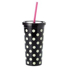 Enjoy every sip of your drink with this kate spade Black Dots Tumbler With Straw from Lifeguard. This acrylic tumbler is insulated and double-walled and designed especially for cold beverages. Kate Spade Cup, Kate Spade Tumbler, Cup With Straw, Tumbler With Straw, Water Tumbler, Thermal Mug, Cute Cups, Acrylic Tumblers, Insulated Tumblers