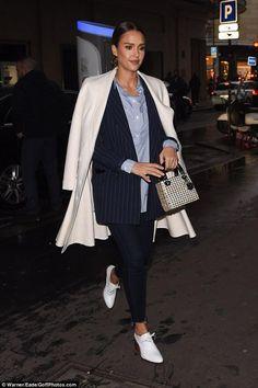 Jessica Alba wearing Christian Dior Pre-Fall 2016, Ganni Moscow Tailor Blazer in Total Eclipse/Vanilla Ice, Ganni Favourite Shirt and Dior Mini…