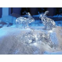 NOMA Pre-Lit Silver Pathway Rabbit Wireform, 3-pc - Canadian Tire