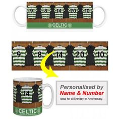 Celtic Personalised Player's MugAppear alongside Celtic Superstars like Brown and Stokes.  We merge your Surname and chosen number onto the centre shirt in the Official Celtic dressing room. Displayed on a quality, durable mug, this superb full-colour design is guaranteed to make you the envy of the office.  Height: 90mm.  Width: 80mm. Soccer Gifts, Sports Gifts, Celtic Fc, Soccer Fans, Gifts For Boys, Dressing Room, Envy, Centre, Number