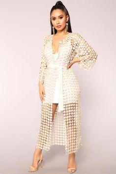 Last Kiss Pearl Kimono - Ivory Lounge Outfit, Lounge Clothes, Midi Skirt, Sequin Skirt, Summer Kimono, Lace Kimono, White Skirts, Black Sequins, Long Cardigan