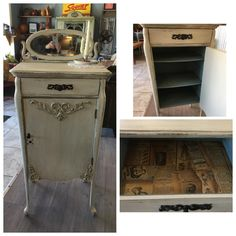 Drop cloth, grunge glaze, vintage duck egg and clear coat, sold in 2 hours :) decoupaged the drawer with pieces of newspaper I found behind the mirror from 1905