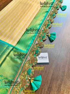 Customised Saree Kuchu & Pallu designs handcrafted to complement your precious silk sarees for celebrating your once in a life time events. Krishne's designer tassel kuchus are our premium offering that are crafted using a combination of handcraft techniques like Aari, Crochet, Tatting, Hand Embroidery, Maggam, Zardozi etc and are in the price range of ₹ 500 ~ 6000. Click www.krishnetassels.com/tassels to see all the kuchu types, price range & whatsapp +91 9916253832 to place your order.. Saree Kuchu New Designs, Saree Tassels Designs, Pattu Saree Blouse Designs, Fancy Blouse Designs, Mirror Work Blouse Design, Rangoli Border Designs, Designer Blouse Patterns, Embroidery Saree, Hand Embroidery Designs