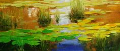 WATER LILIES  ORIGINAL OIL PAINTING CANVAS HANDMADE PALETTE KNIFE LARGE SIZE