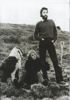 Linda & Paul McCartney with sheepdog Martha