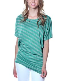 Another great find on #zulily! Green Stripe Tapered Tunic #zulilyfinds