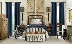 Blue cream boys bedroom decor