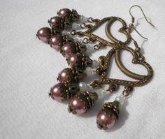 Heart Glass Pearl Antique Bronze Earrings by juta230 on Etsy, $14.50