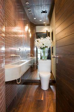 Main Powder Room - contemporary - bathroom - denver - Studio Frank…use a wall-mounted faucet Modern Small Bathrooms, Bathroom Design Small Modern, Small Space Bathroom Design, Small Bathroom, Small Studio Apartments, Bathroom Decor, Small House Design, Powder Room Design, Small Bathroom Decor