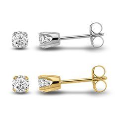 1/5 Ct Diamond Stud Earrings in Sterling Silver OR w/Yellow Gold Plating