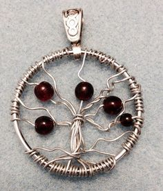 Garnet Tree of Life Necklace by Kendra Grimmett