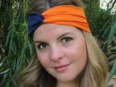 Chicago Bears Headband, Navy and Orange Turband, U of I headband, college or football headband, by ItsTwisted on Etsy, $18.00