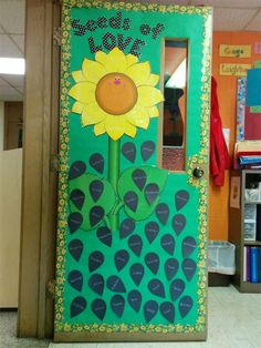 Simple spring themed classroom door decoration of a flower and seeds. http://www.mpmschoolsupplies.com/ideas/4766/seeds-of-love-flower-themed-spring-bulletin-board/