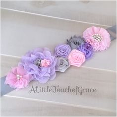 Lavender,light pink and gray Maternity Sash,elephant baby shower,girl baby shower,basket wrap,gray maternity sash,pink and purple sash by ALittleTouchofGrace on Etsy https://www.etsy.com/listing/456115934/lavenderlight-pink-and-gray-maternity