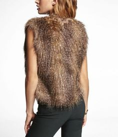 FEATHERED FAUX FUR VEST at Express
