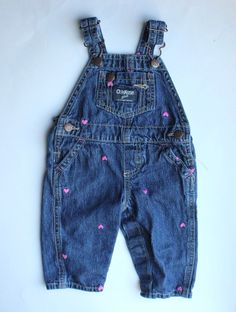 Bottoms Cheap Price Kids 24 Mo Osh Kosh Denim Blue Jeans Overalls Butterfly Embroidered Farmer Baby