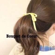 ハンドメイド♡春色チャーム付きロングリボンゴム Handmade spring color ribbon hair accessory