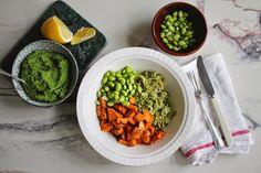 Grønn pasta m. søtpotet & fantastisk grønnkålpesto — Happy food stories