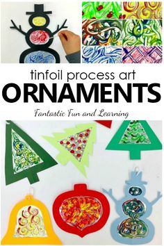 Kids will love exploring a new painting technique as they create tinfoil process art Christmas ornaments in this fun Christmas art project for kids. #ornaments #christmaswithkids #craftsforkids #christmas #preschool #processart