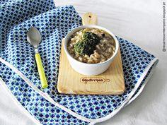 Arroz de alheira vegetariana com brócolos e alho francês