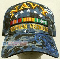 2a02b51d194bfe U.S. NAVY NAVAL USN VIET NAM VIETNAM VETERAN VET SERVICE CAMPAIGN RIBBON CAP  HAT #PREMIUMHATS