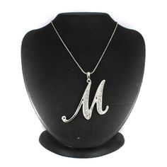 """Silvertone Crystal Accented M Initial Pendant on 30"""" Chain N886 #Affinityfashionjewelry #InitialPendant"""