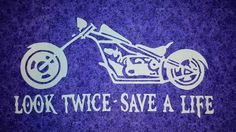 Motorcycle - Look Twice - Save a Life - purple sparkle background motorcycle wall hanging