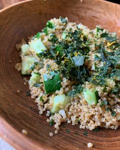 Cucumber + sesame oil + fresh garlic + quinoa + kale chips for breakfast ❤️ Kale Chips, Fresh Garlic, Sesame Oil, Cucumber Salad, Quinoa, Grains, Rice, Random, Breakfast