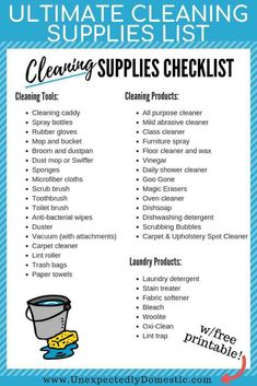 Ultimate Cleaning Supplies Checklist: Your Must Have Cleaning Products - - Use this cleaning supplies list printable to stock your home with the best cleaning products and tools for your kitchen, bathroom, and more! Best Cleaning Products, Deep Cleaning Tips, Cleaning Checklist, House Cleaning Tips, Spring Cleaning, Apartment Cleaning, Cleaning Schedules, Cleaning Lists, College Checklist