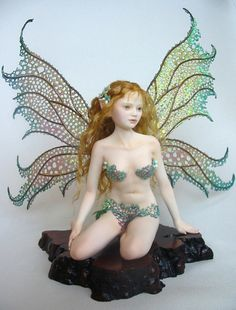 "♥♥ ༺❣༻ Dragon Works' polymer clay fairy, ""Sybel"". Beautiful wings. ༺❣༻"