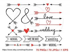 HUGE SET, MEGA PACK  70 hand-drawn vintage arrow designs, (aztec, tribal, ampersand, heart, love) digital clip art set for wedding invitation,