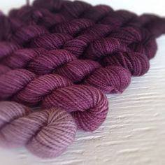 """""""Raspberry American sock mini skeins! In shop now. #sockyarn #miniskeins #merino #americanmade #americansock #knitting #ombre #gradient"""" Photo taken by @pigeonroofstudios on Instagram, pinned via the InstaPin iOS App! http://www.instapinapp.com (03/12/2014)"""