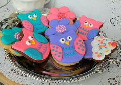 Galletas decoradas buhos. Birdys Chetumal QRoo.