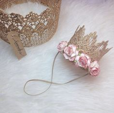 the Sienna|| ROSE GOLD lace crown headband with BLUSH flowers|| firmest lace crowns on the market on Etsy, $18.00