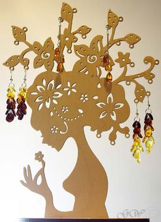 Wooden Jewelry Tree Earring TreeEarring by GreenWoodLT on Etsy Jewelry Tree, Jewelry Stand, Wooden Jewelry, Jewelry Crafts, 3d Cuts, Laser Cutter Projects, Earring Tree, How To Make Necklaces, Laser Cut Wood