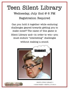 No link, just an idea for silent library games Library Games, Library Events, Library Science, Library Activities, Activities For Teens, Library Lessons, Library Humor, Teen Library Space, Library Work