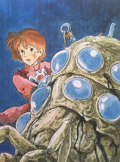 "Illustrations done for the Nausicaa manga ===== Manga began running in monthly 'Animage' in Feb. 1982, collected in order of appearance ===== Notes: I remember muttering to myself, ""Another cover?"" as I drew this for a series of 4 film comics [laughs]. The more I don't want to do something, the less I get done, so I forced myself to do all 4 at once. I remember how calm Kodasha's editor was despite my grumbling."