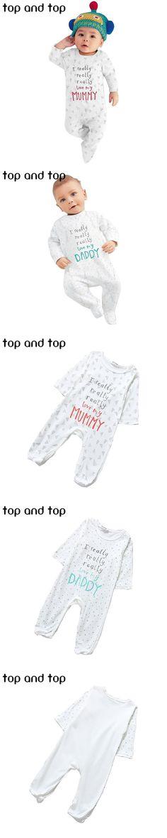 2016 newborn baby boy girl clothing I love mom and dad onesie baby Romper bebe baby clothing set
