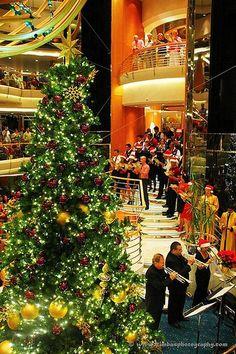 At Sea, Ocean - Christmas Tree on Cruise Ship Christmas Room, Merry Christmas To All, Christmas Store, Christmas Scenes, Noel Christmas, Beautiful Christmas, Christmas Trips, Disney Christmas, Vacation Places