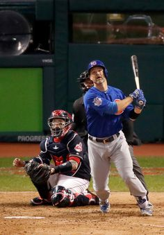 David Ross #3 of the Chicago Cubs hits a solo home run during the sixth inning against the Cleveland Indians in Game Seven of the 2016 World Series at Progressive Field on November 2, 2016 in Cleveland, Ohio. (Nov. 1, 2016 - Source: Gregory Shamus/Getty Images North America)