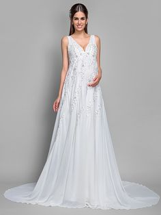 A-line V-neck  Court Train Chiffon and Lace Maternity Wedding Dress - USD $139.99