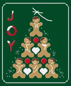 Christmas themed cross stitch. Composition of five cute gingerbread men&hearts and the text:JOY