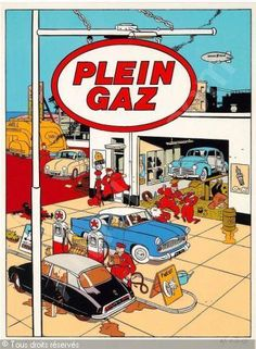 A Citroën DS at a Plein Gaz station. ©Yves Chaland (1957 - 1990) - a French cartoonist