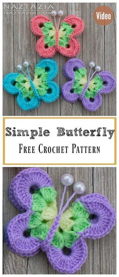 Sweet Simple Butterfly Free Crochet Pattern and Video Tutorial #Freepattern #Crochet